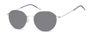 SS-928A;; Argento + blu + lenti fumo  Metal Sunglasses - Optical Quality - UV400 - CAT 3. - Soft Pouch Included ;53;18;148