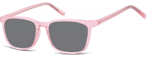 SS-CP124C;; Rosa trasparente + lenti fumo  Injected CP Sunglasses - Optical Quality - UV400 - CAT 3. - Soft Pouch Included ;51;18;144